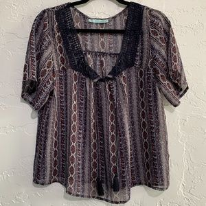4/$25 Maurices Loose Fit Sheer Boho Chic Top Small